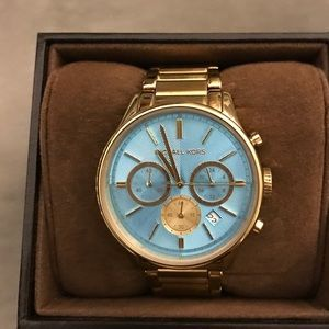 Gold and teal Michael Kors watch